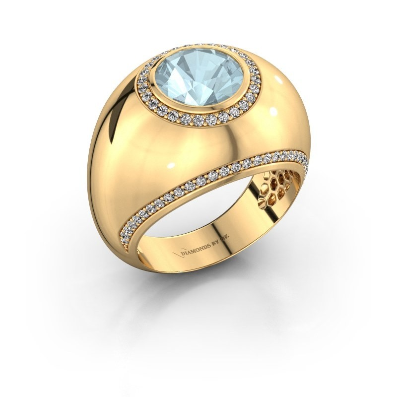 Ring Roxann 375 goud aquamarijn 8 mm