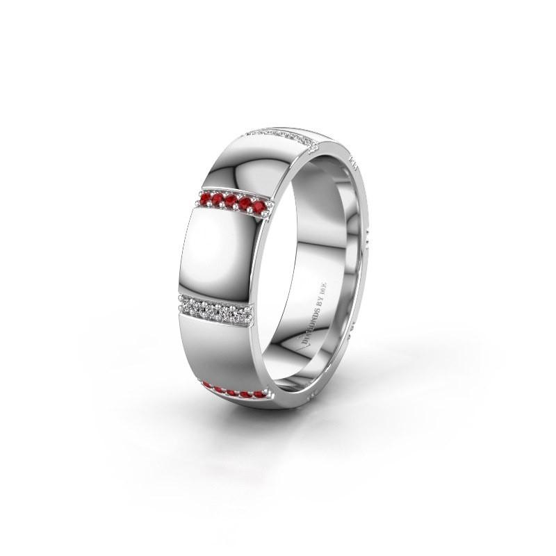 Wedding ring WH2124L26B 950 platinum ruby ±6x2 mm