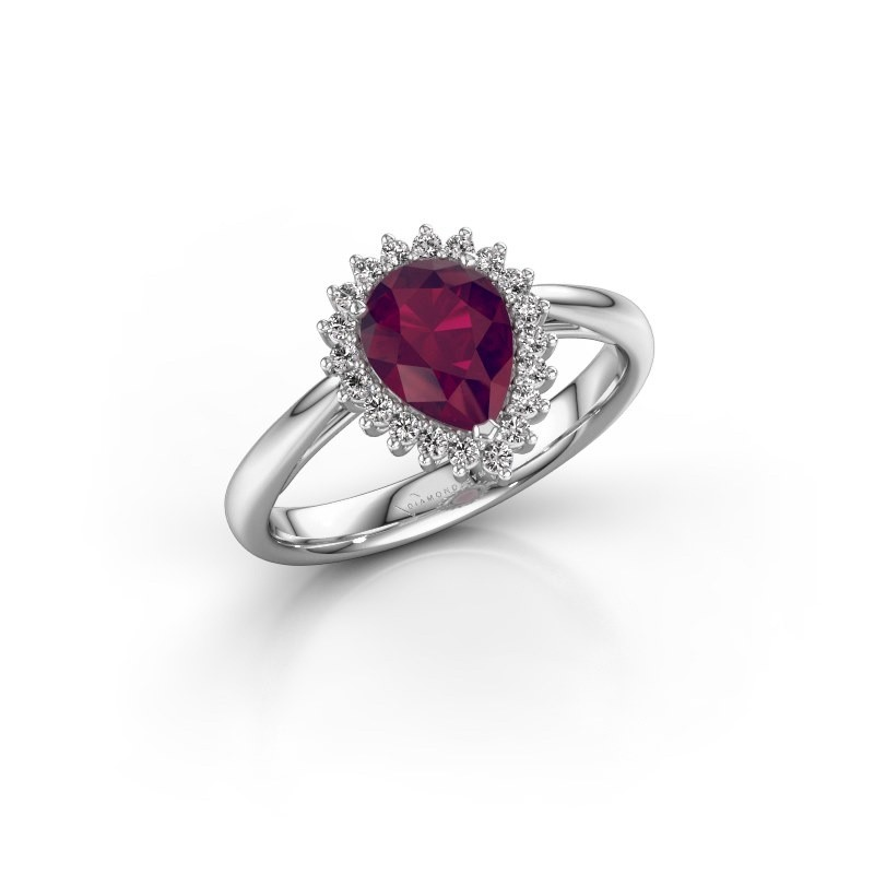 Engagement ring Tilly per 1 925 silver rhodolite 8x6 mm