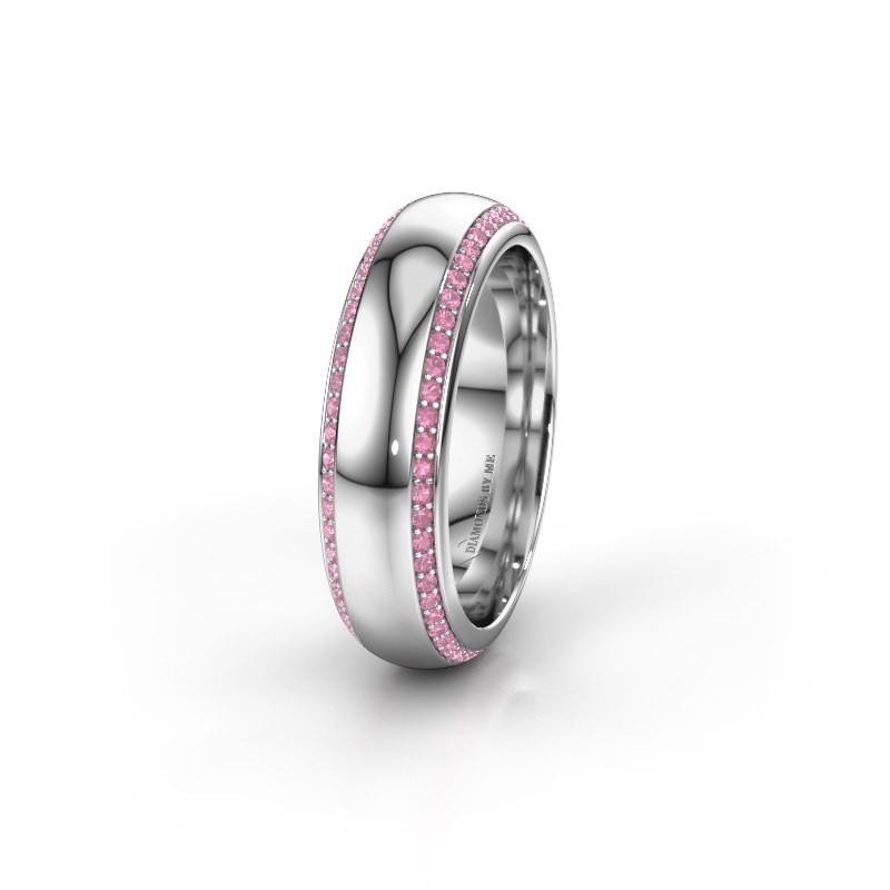 Trouwring WH6132L36C 585 witgoud roze saffier ±6x2.2 mm