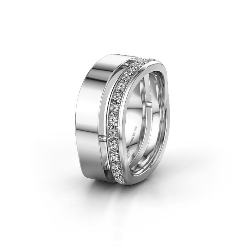 Huwelijksring WH6008L18BP 585 witgoud zirkonia ±10x2 mm
