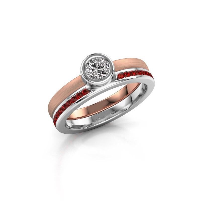 Ring Cara 585 rosé goud granaat 4 mm