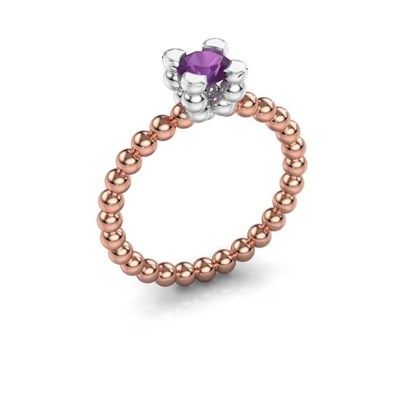 Ring Aurore 585 rosé goud amethist 5 mm