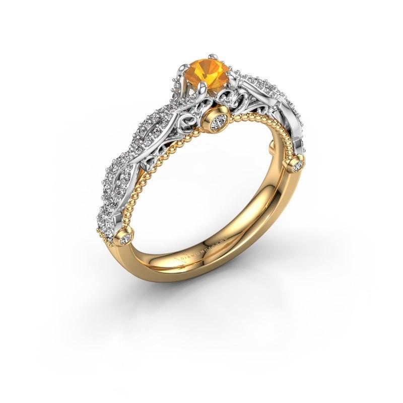 Verlovingsring Chantelle 585 goud citrien 4 mm