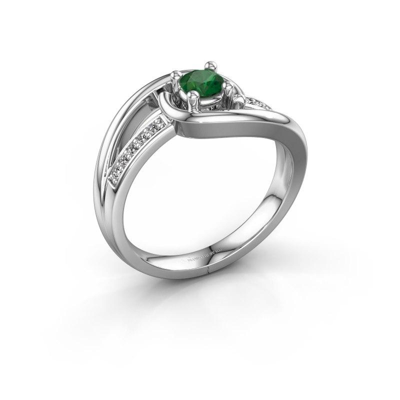 Ring Aylin 585 witgoud smaragd 4 mm
