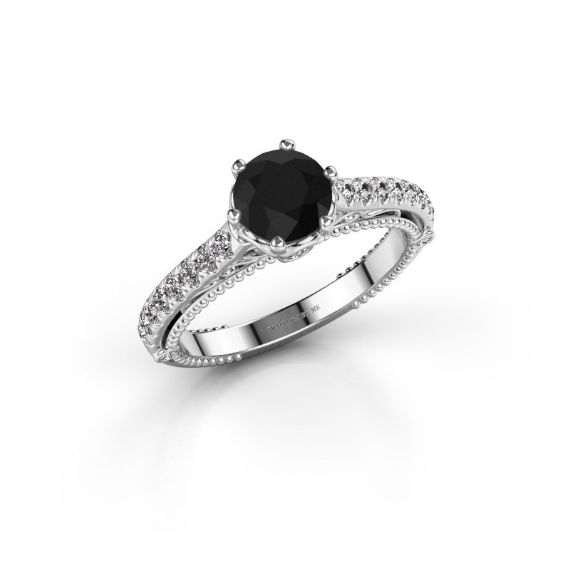 Engagement ring Venita 585 white gold black diamond 1.645 crt