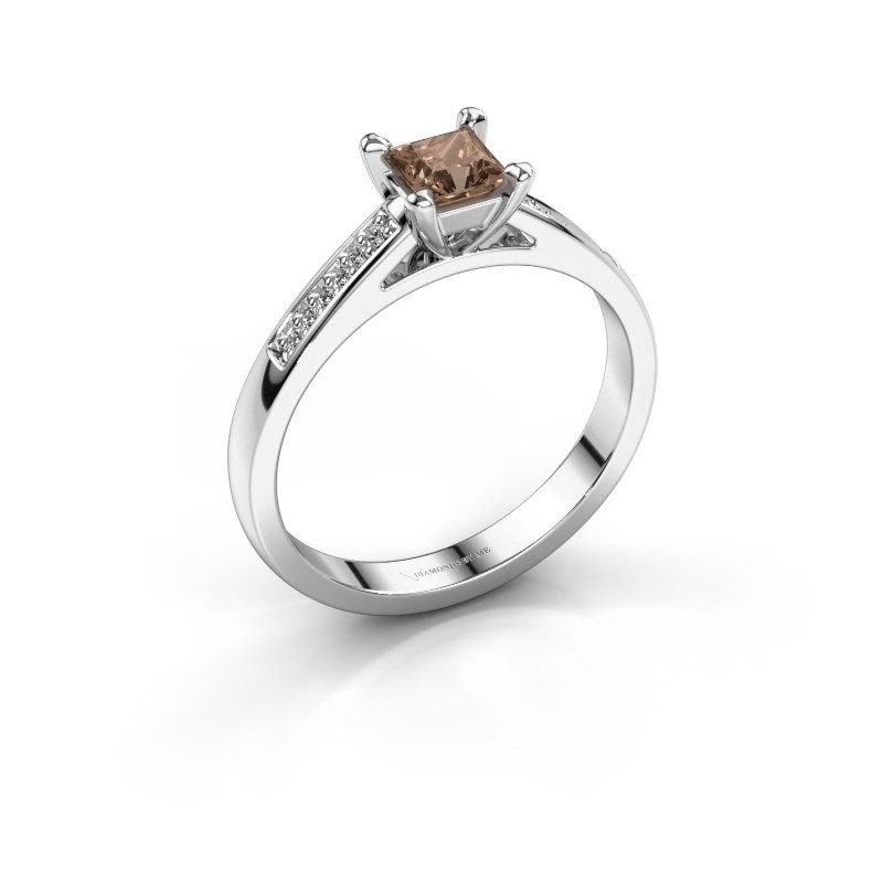 Engagement ring Nynke SQR 925 silver brown diamond 0.46 crt