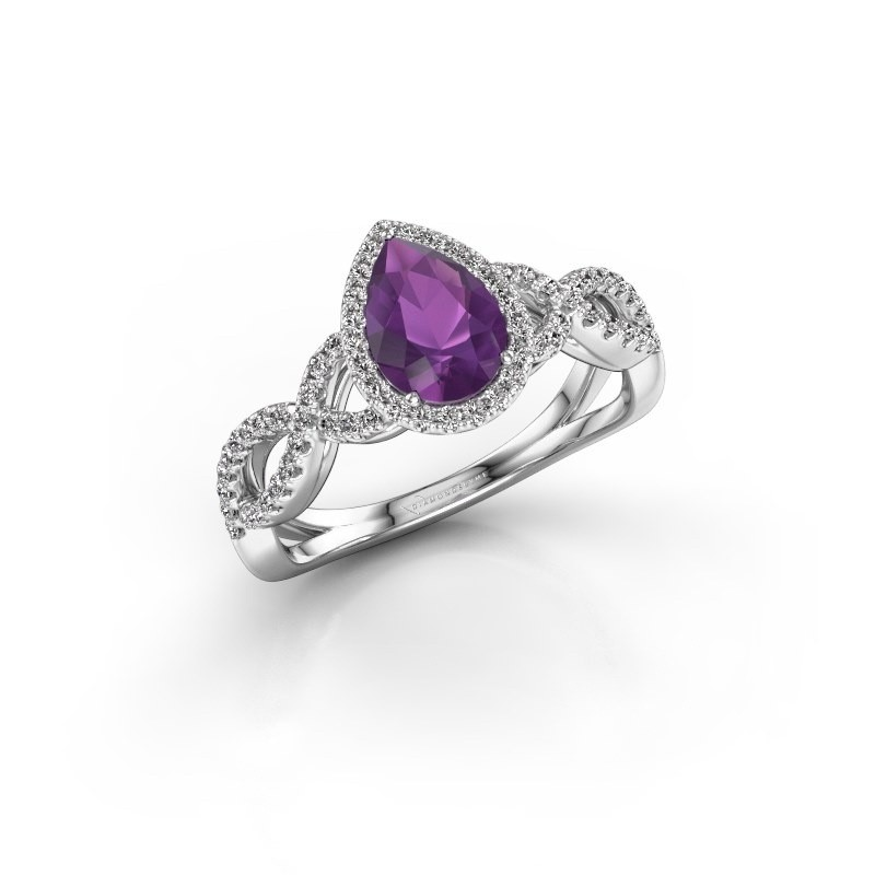 Engagement ring Dionne pear 925 silver amethyst 7x5 mm