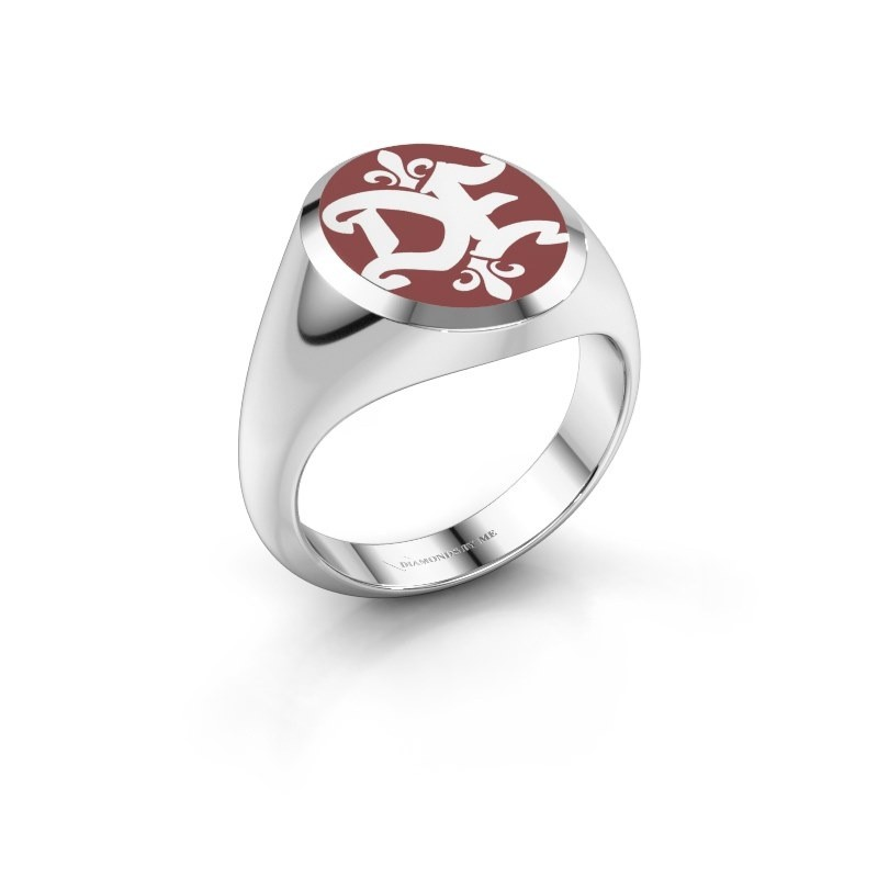 Monogram ring Xandro Emaille 950 platina rode emaille