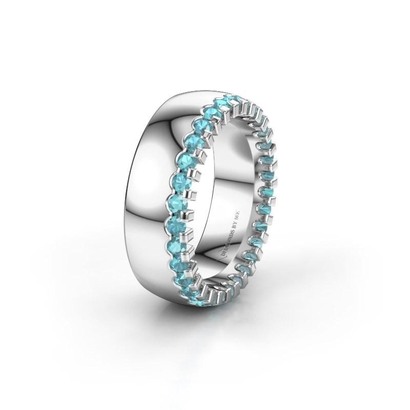 Wedding ring WH6120L27C 585 white gold blue topaz ±7x2.2 mm