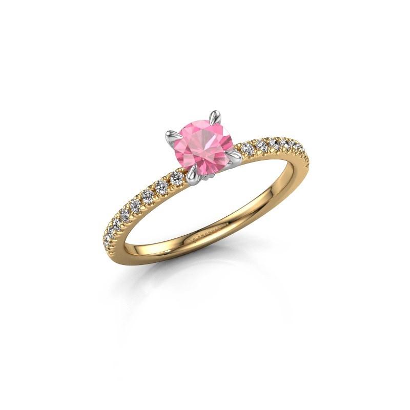 Verlovingsring Crystal rnd 2 585 goud roze saffier 5 mm