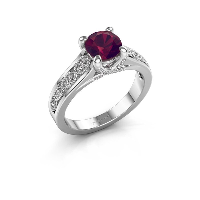 Engagement ring Clarine 585 white gold rhodolite 6.5 mm
