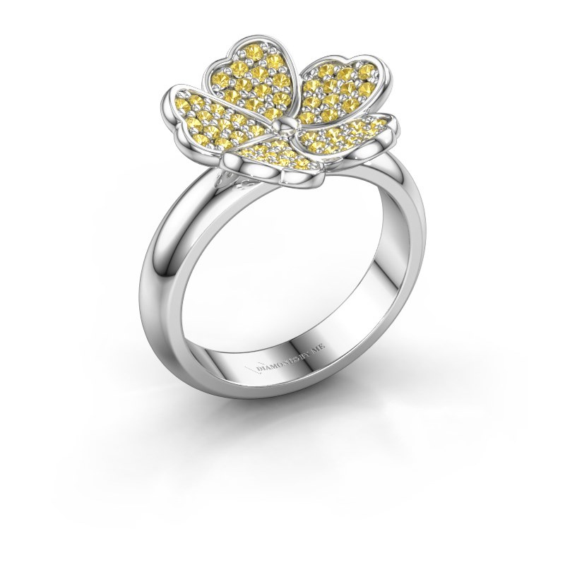Ring Daphne 925 silver yellow sapphire 1.2 mm