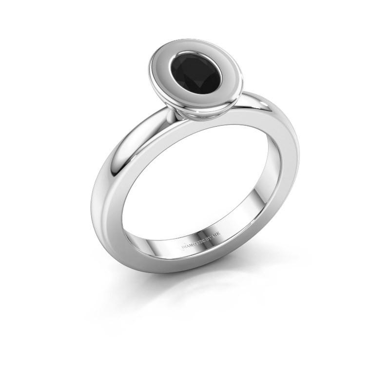 Stapelring Eloise Oval 925 zilver zwarte diamant 0.60 crt
