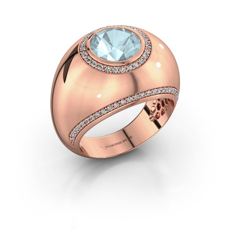 Ring Roxann 375 rosé goud aquamarijn 8 mm