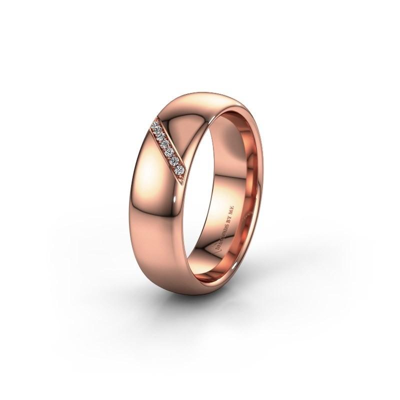 Trouwring WH0164L36B 375 rosé goud zirkonia ±6x2 mm