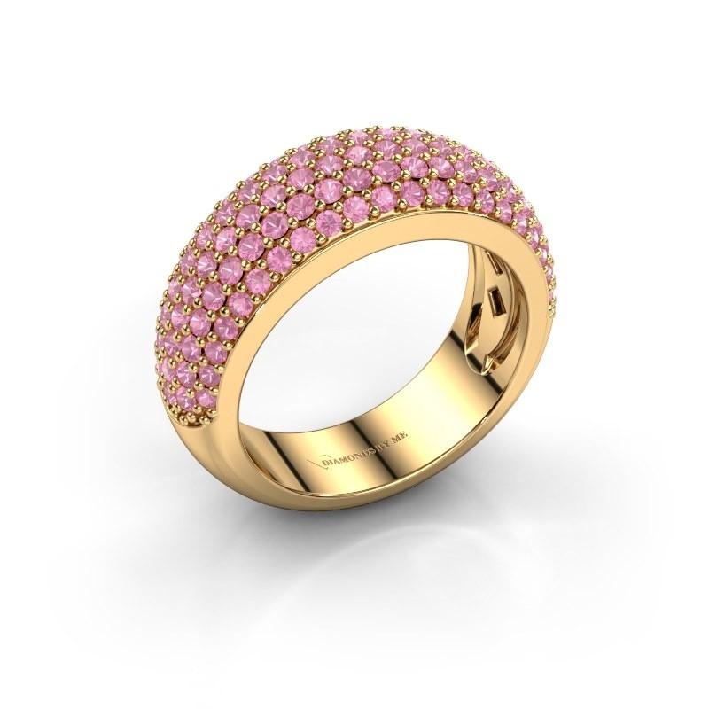 Ring Cristy 375 goud roze saffier 1.2 mm