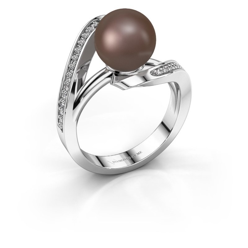 Ring Amber 585 witgoud bruine parel 9 mm