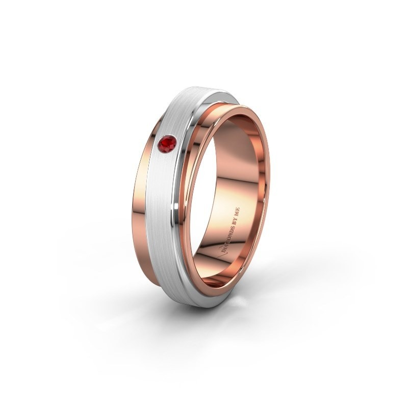 Huwelijksring WH2220L16D 585 rosé goud robijn ±6x2.2 mm