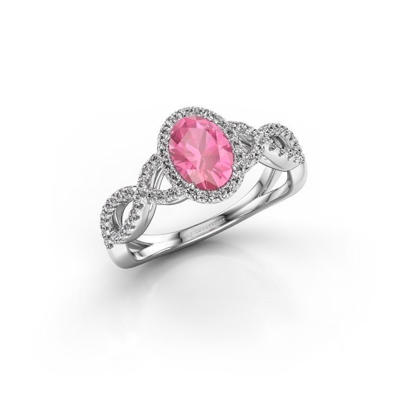 Verlovingsring Dionne ovl 925 zilver roze saffier 7x5 mm