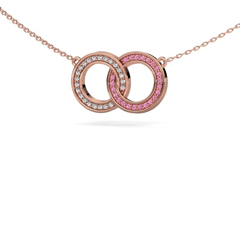 Kette Circles 1 375 Roségold Pink Saphir 1 mm