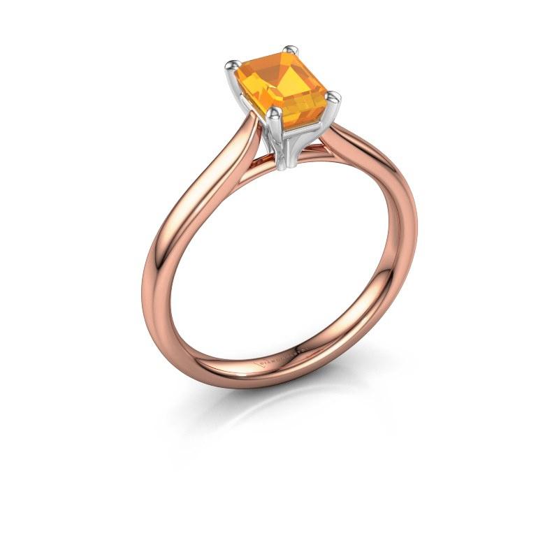 Verlovingsring Mignon eme 1 585 rosé goud citrien 6.5x4.5 mm