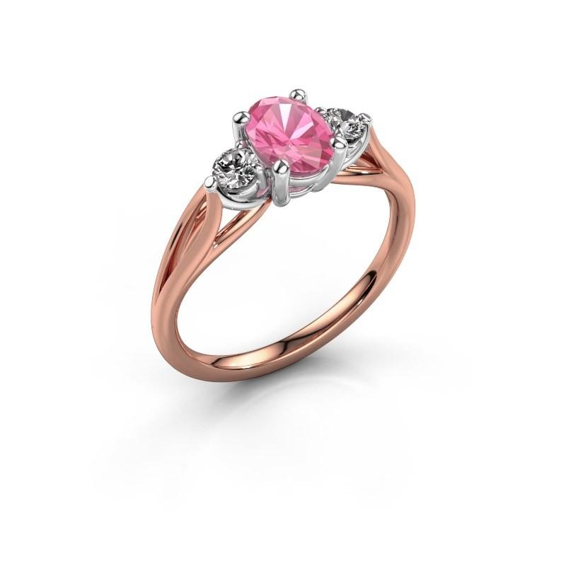 Verlovingsring Amie OVL 585 rosé goud roze saffier 7x5 mm