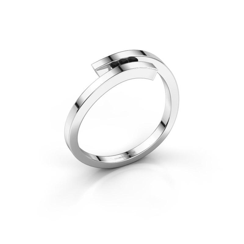 Ring Juliette 585 witgoud zwarte diamant 0.05 crt