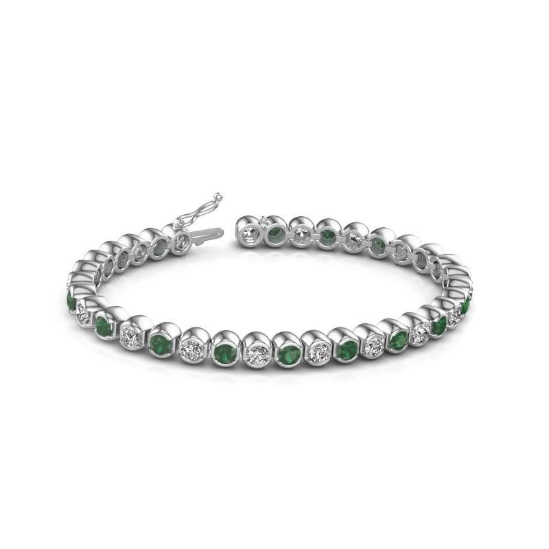 Tennis bracelet Bianca 585 white gold emerald 4 mm