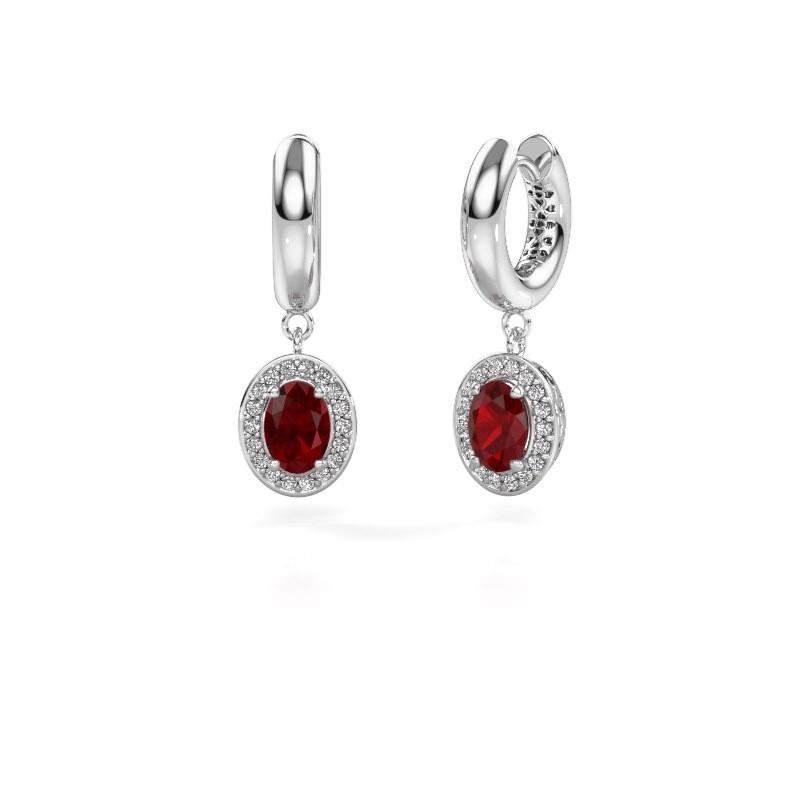 Drop earrings Annett 375 white gold ruby 7x5 mm