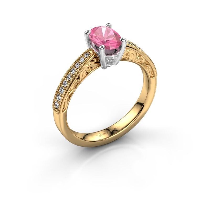 Verlovingsring Shonta OVL 585 goud roze saffier 7x5 mm