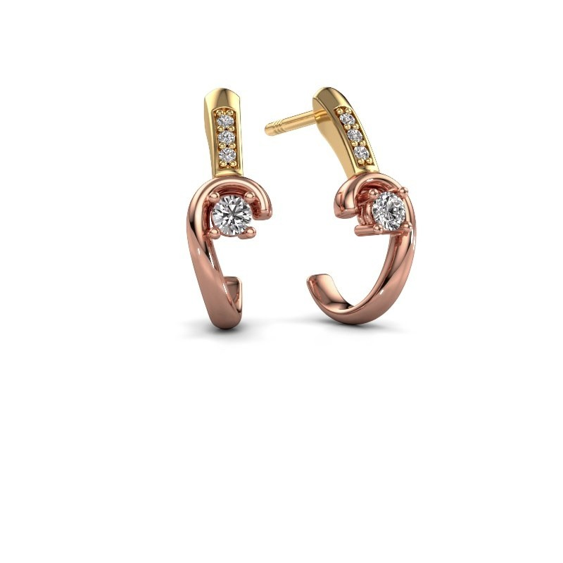 Oorbellen Ceylin 585 rosé goud lab-grown diamant 0.16 crt