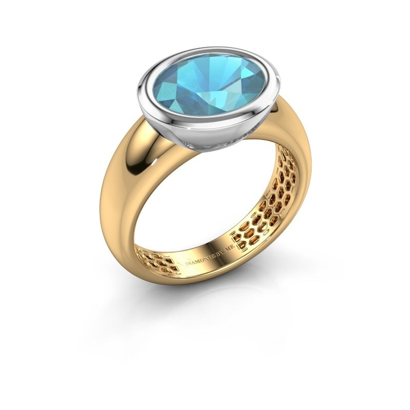 Ring Evelyne 585 goud blauw topaas 10x8 mm