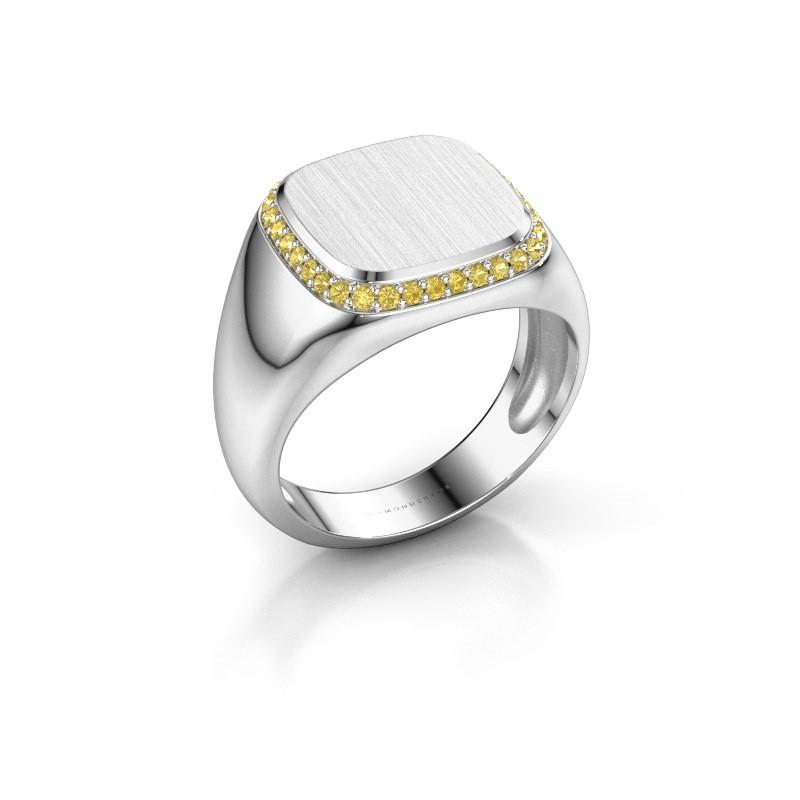 Heren ring Jesse 1 375 witgoud gele saffier 1.2 mm