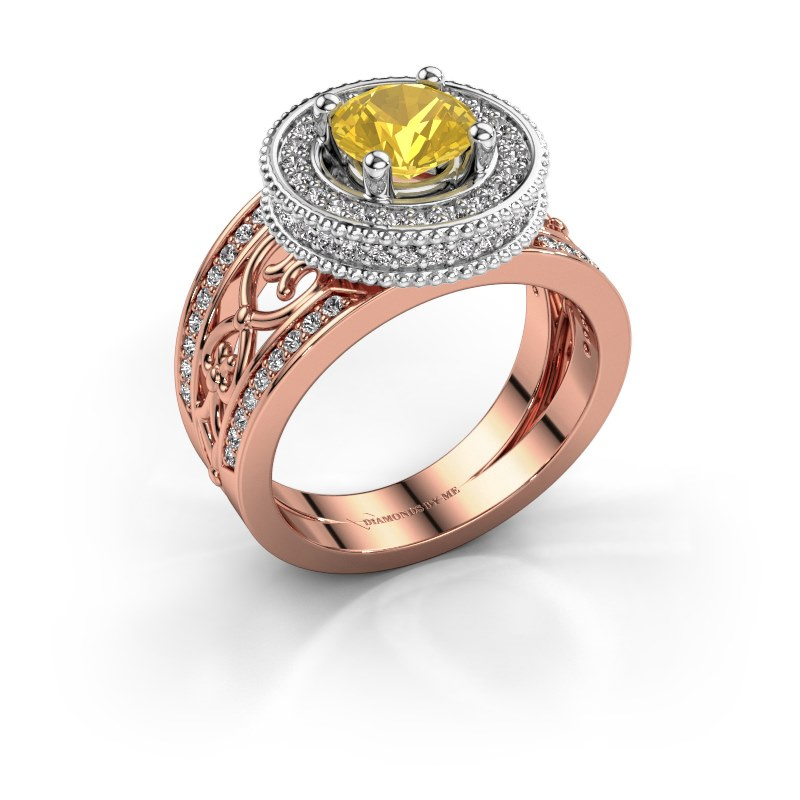 Ring Joy 585 rose gold yellow sapphire 6.5 mm