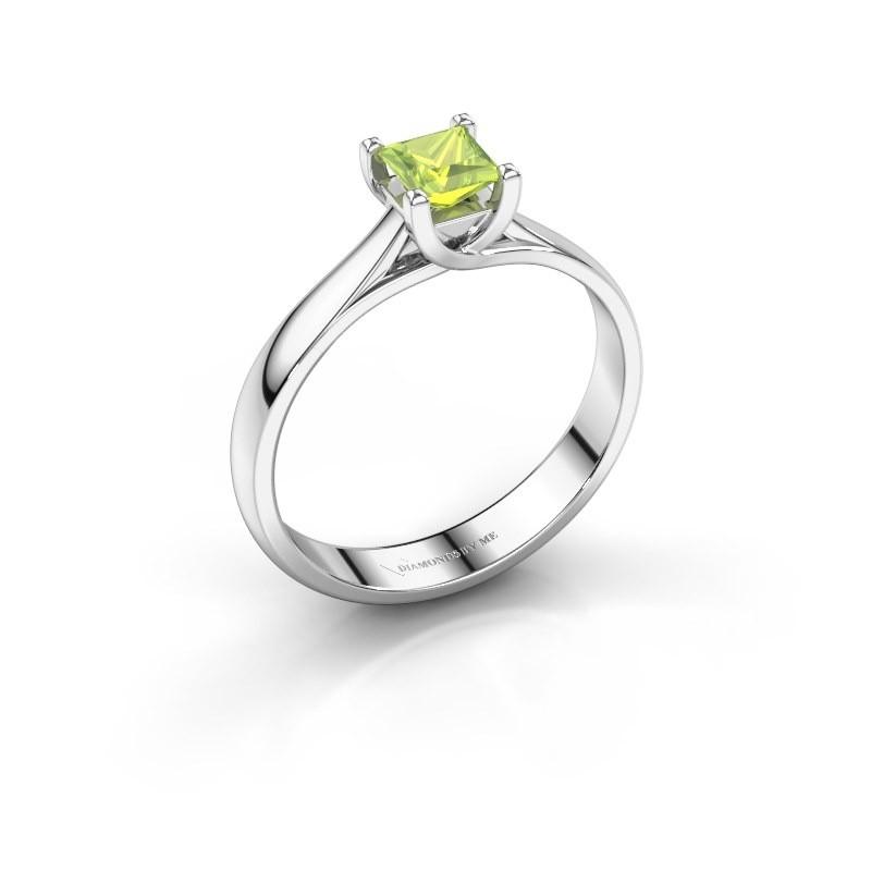 Engagement ring Mia Square 925 silver peridot 4 mm
