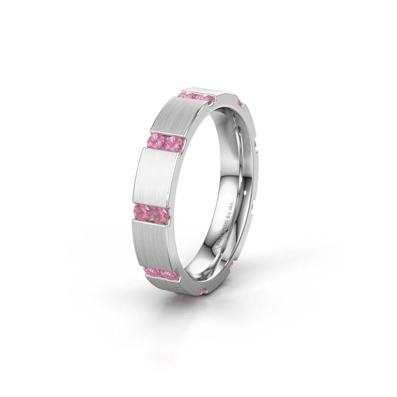 Bague de mariage WH2132L14BM 585 or blanc saphir rose ±4x2.2 mm