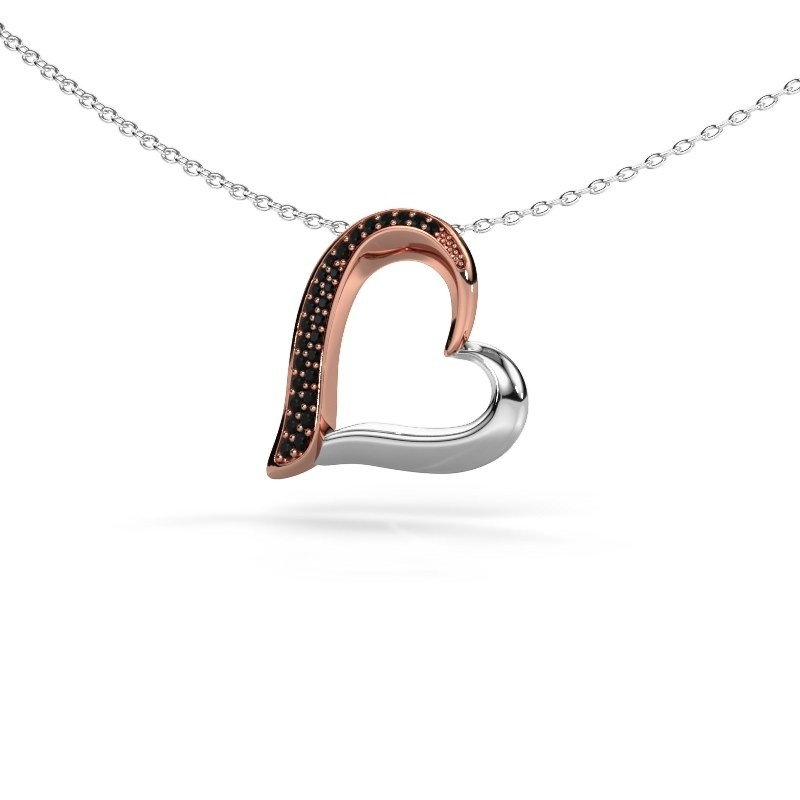 Collier Heart 1 585 or rose diamant noir 0.16 crt