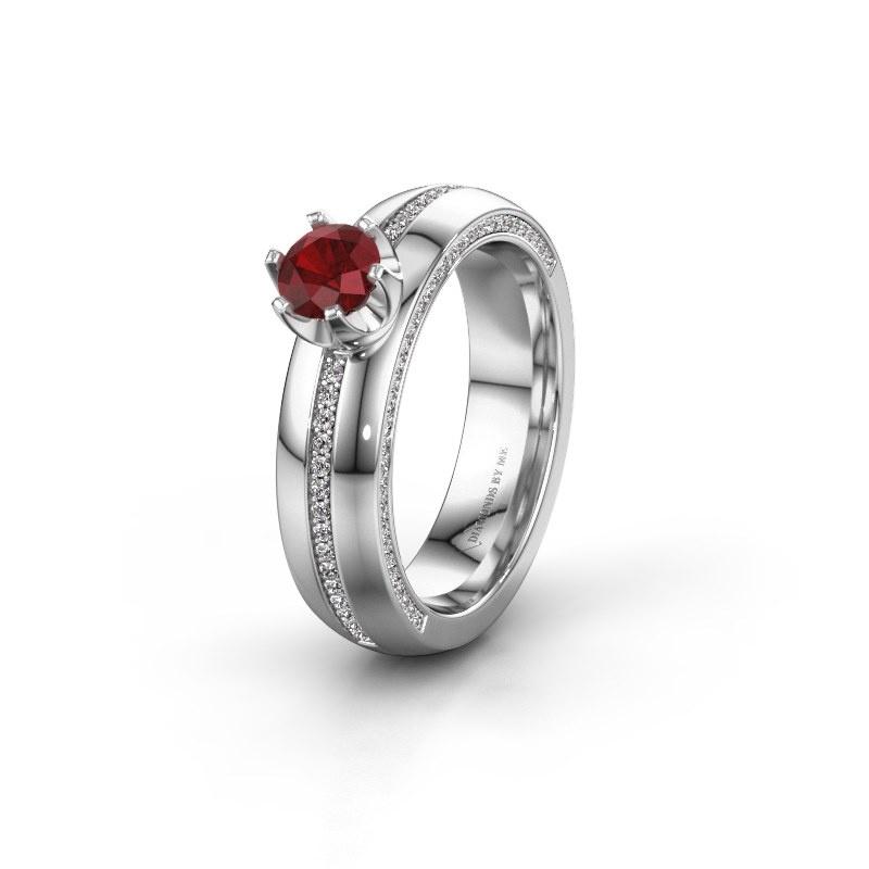 Huwelijksring WH0416L25E 585 witgoud robijn ±5x2.6 mm