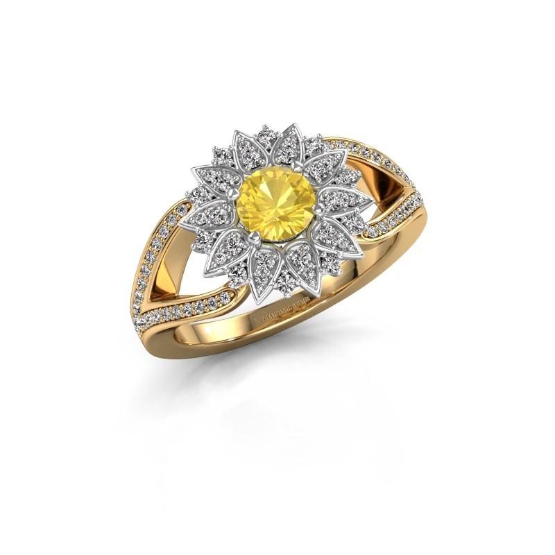 Aanzoeksring Chasidy 2 585 goud gele saffier 5 mm
