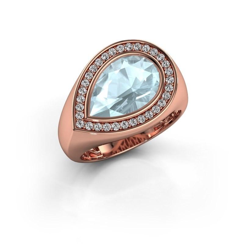 Ring Latashia 375 rosé goud aquamarijn 12x8 mm