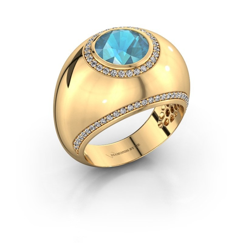 Ring Roxann 375 goud blauw topaas 8 mm
