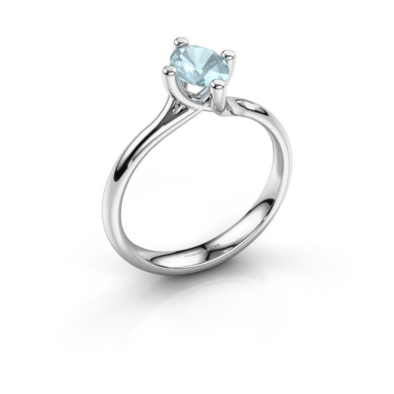 Engagement ring Dewi Oval 585 white gold aquamarine 7x5 mm