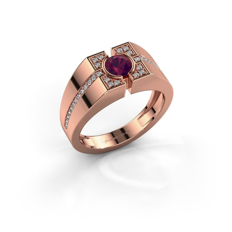 Men's ring Thijmen 375 rose gold rhodolite 5 mm