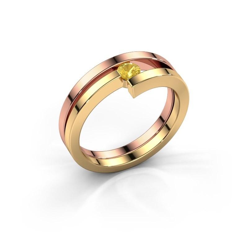 Ring Nikia 585 rosé goud gele saffier 3.4 mm