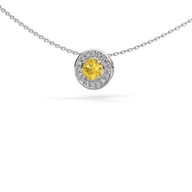 Hanger Agaat 925 zilver gele saffier 5 mm