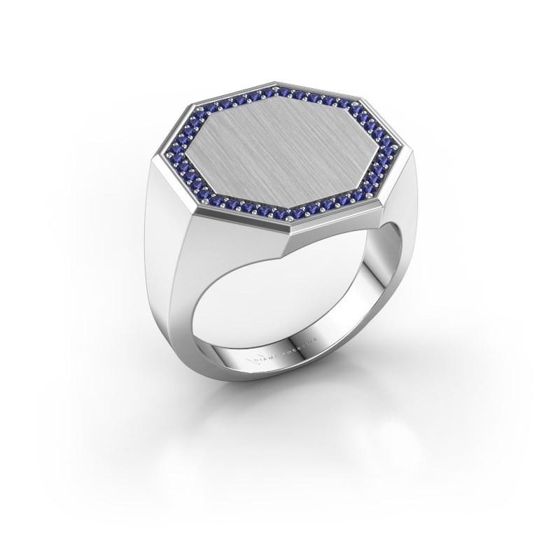 Men's ring Floris Octa 4 375 white gold sapphire 1.2 mm