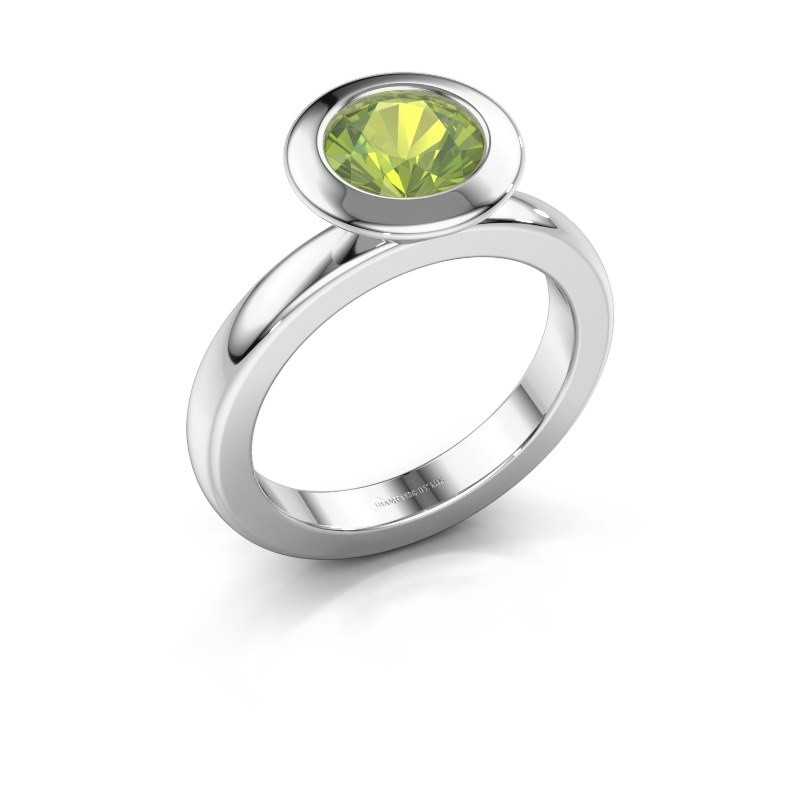 Stacking ring Trudy Round 925 silver peridot 7 mm