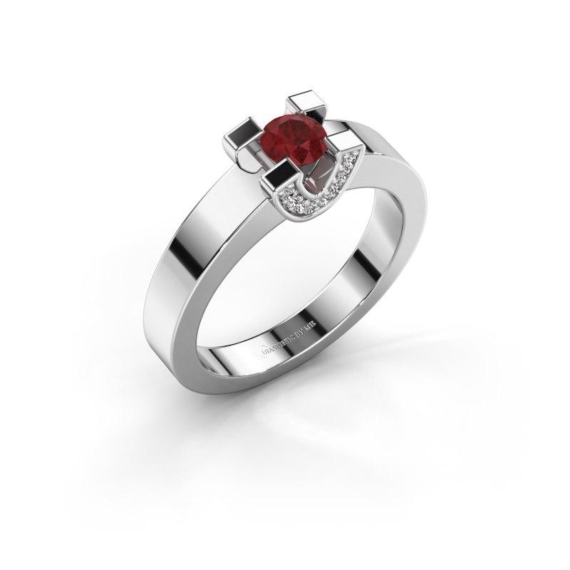 Verlovingsring Jasmijn 1 925 zilver robijn 4.2 mm