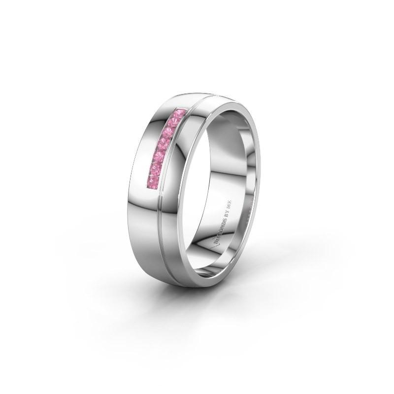 Trouwring WH0308L26AP 950 platina roze saffier ±6x1.7 mm